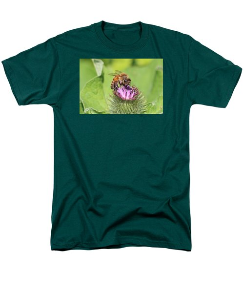 Honeybee On Burdock Men's T-Shirt  (Regular Fit) by Lucinda VanVleck