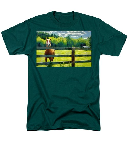 Men's T-Shirt  (Regular Fit) featuring the painting Horse In The Field by Jeff Kolker