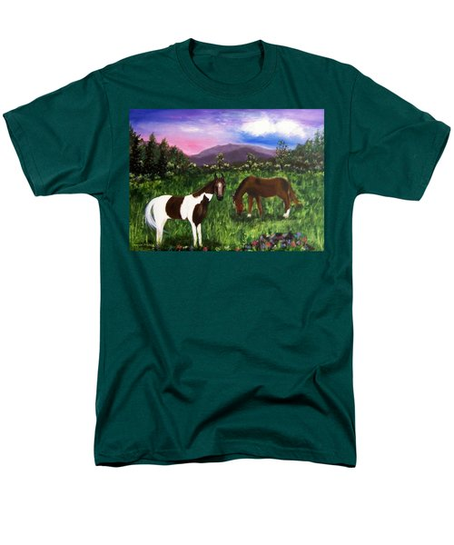 Men's T-Shirt  (Regular Fit) featuring the painting Horses by Jamie Frier