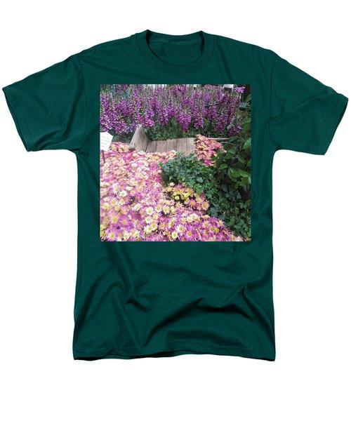 Interior Decorations Butterfly Gardens Vegas Golden Yellow Purple Flowers Men's T-Shirt  (Regular Fit) by Navin Joshi