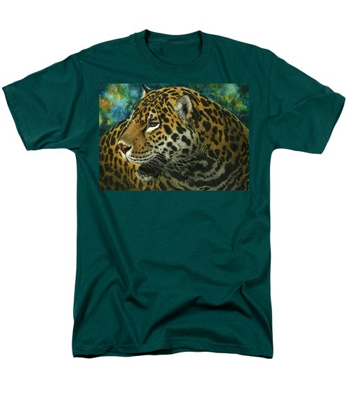 Men's T-Shirt  (Regular Fit) featuring the mixed media Jaguar by Sandra LaFaut