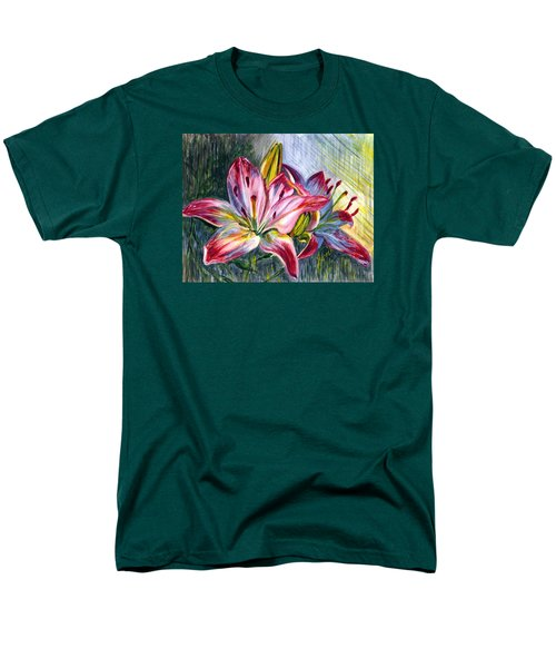 Men's T-Shirt  (Regular Fit) featuring the painting Lilies Twin by Harsh Malik