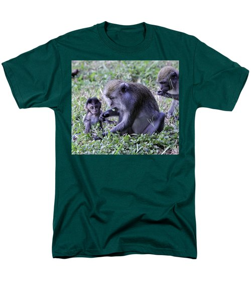 Men's T-Shirt  (Regular Fit) featuring the photograph Long Tailed Macaque Family by Shoal Hollingsworth