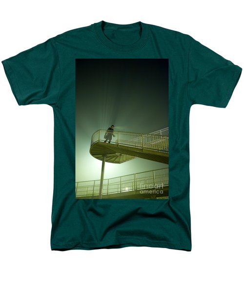 Men's T-Shirt  (Regular Fit) featuring the photograph Man On Stairs With Case In Fog by Lee Avison