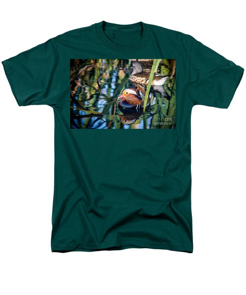 Mandarin Duck Reflections Men's T-Shirt  (Regular Fit) by Peta Thames
