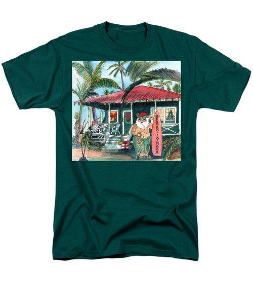 Mele Kalikimaka Hawaiian Santa Men's T-Shirt  (Regular Fit)
