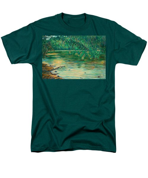 Men's T-Shirt  (Regular Fit) featuring the painting Mid-spring On The New River by Kendall Kessler