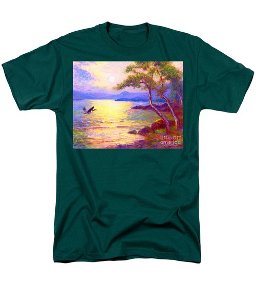 Men's T-Shirt  (Regular Fit) featuring the painting  Wild Goose, Moon Song by Jane Small