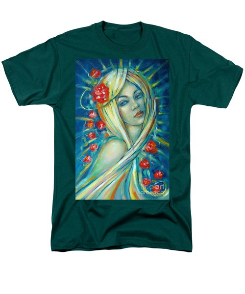 Men's T-Shirt  (Regular Fit) featuring the painting Moonlight Flowers 030311 by Selena Boron