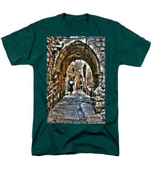 Men's T-Shirt  (Regular Fit) featuring the photograph Old Street In Jerusalem by Doc Braham