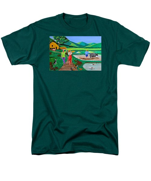 Men's T-Shirt  (Regular Fit) featuring the painting One Beautiful Morning In The Farm by Cyril Maza