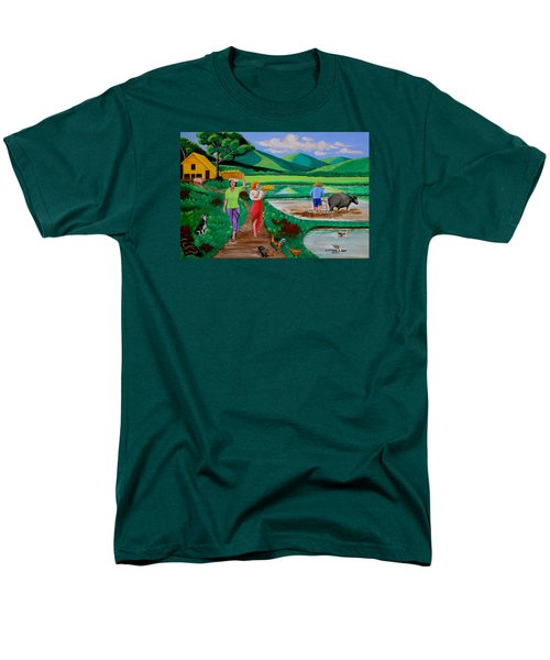 Men's T-Shirt  (Regular Fit) featuring the painting One Beautiful Morning In The Farm by Lorna Maza