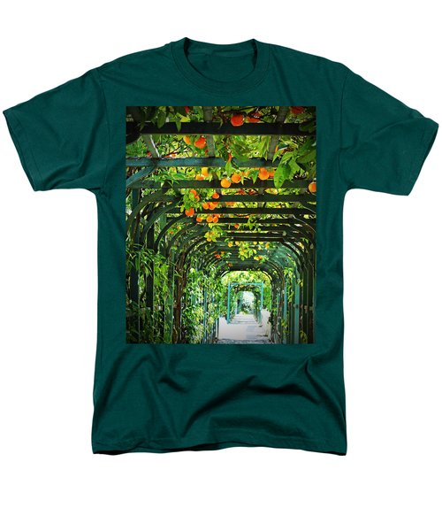 Men's T-Shirt  (Regular Fit) featuring the photograph Oranges And Lemons On A Green Trellis by Brooke T Ryan