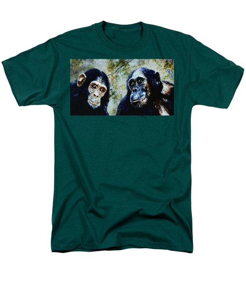 Men's T-Shirt  (Regular Fit) featuring the painting Our Closest Relatives by Hartmut Jager