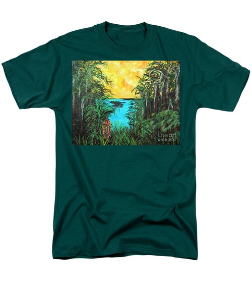 Men's T-Shirt  (Regular Fit) featuring the painting Panther Island In The Bayou by Alys Caviness-Gober