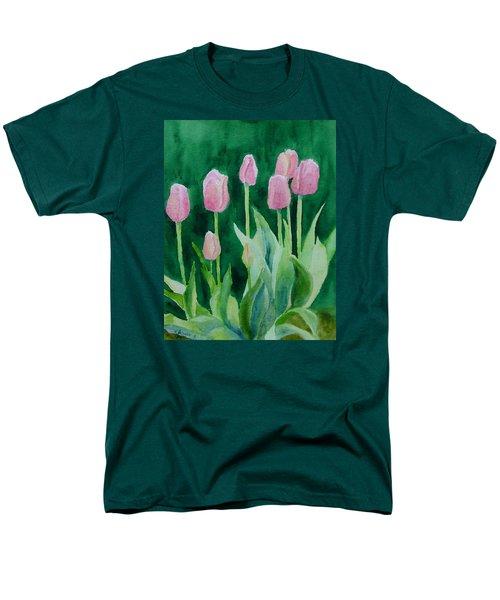 Pink Tulips Colorful Flowers Garden Art Original Watercolor Painting Artist K. Joann Russell Men's T-Shirt  (Regular Fit) by Elizabeth Sawyer
