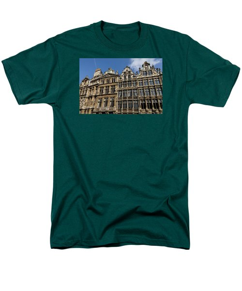 Men's T-Shirt  (Regular Fit) featuring the photograph Postcard From Brussels - Grand Place Elegant Facades by Georgia Mizuleva