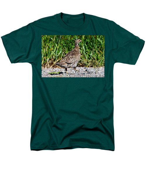Men's T-Shirt  (Regular Fit) featuring the photograph Prairie Chicken Run by Janice Rae Pariza