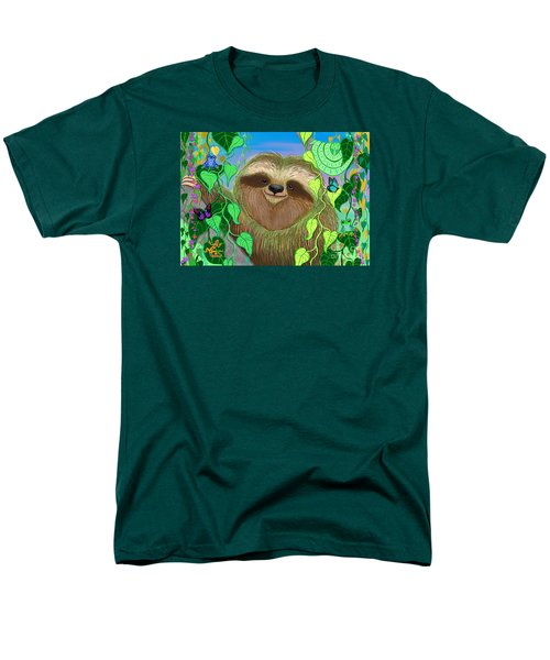 Rainforest Sloth Men's T-Shirt  (Regular Fit) by Nick Gustafson