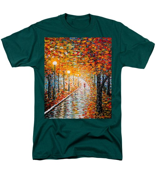 Men's T-Shirt  (Regular Fit) featuring the painting Rainy Autumn Day Palette Knife Original by Georgeta  Blanaru