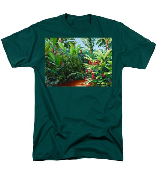 Red Garden Hawaiian Torch Ginger Men's T-Shirt  (Regular Fit) by Karen Whitworth