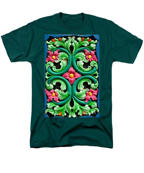 Red Green And Blue Floral Design Singapore Men's T-Shirt  (Regular Fit) by Imran Ahmed