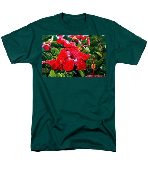 Red Hibiscus Men's T-Shirt  (Regular Fit) by Marionette Taboniar