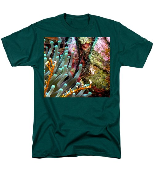 Men's T-Shirt  (Regular Fit) featuring the photograph Sea Anemone And Coral Rainbow Wall by Amy McDaniel