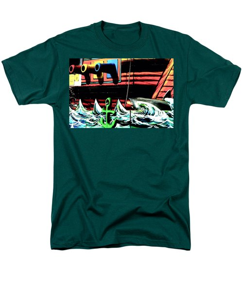 Shark And Pirate Ship Pop Art Posterized Photo Men's T-Shirt  (Regular Fit) by Marianne Dow