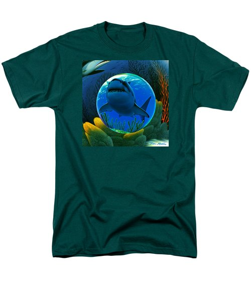 Men's T-Shirt  (Regular Fit) featuring the digital art Shark World  by Robin Moline