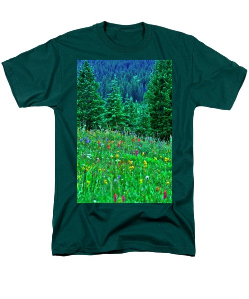 Men's T-Shirt  (Regular Fit) featuring the photograph Shrine Pass Wildflowers by Jeremy Rhoades