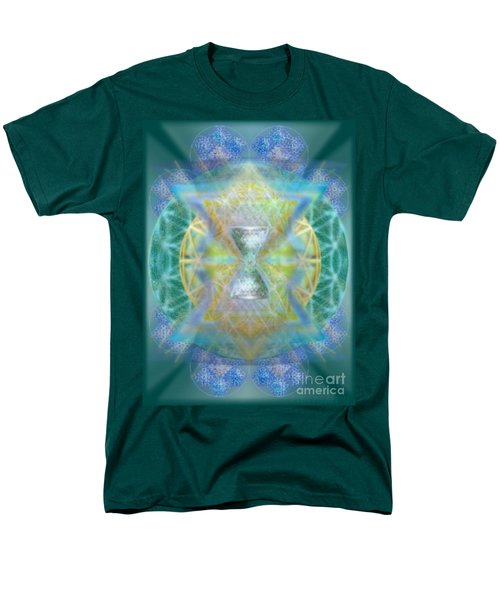 Men's T-Shirt  (Regular Fit) featuring the digital art Silver Torquoise Chalicell Ring Flower Of Life Matrix by Christopher Pringer
