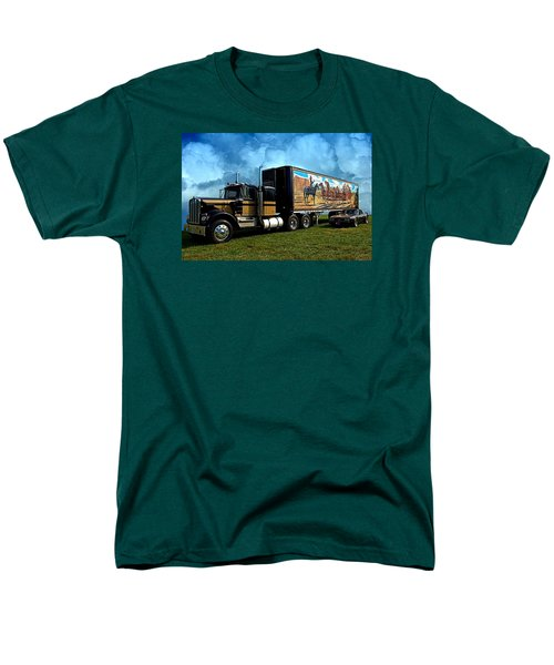 Men's T-Shirt  (Regular Fit) featuring the photograph Smokey And The Bandit Tribute 1973 Kenworth W900 Black And Gold Semi Truck And The Bandit Transam by Tim McCullough