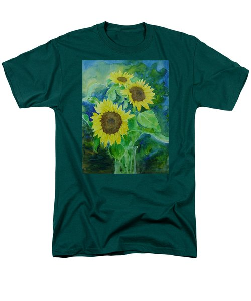 Sunflowers Colorful Sunflower Art Of Original Watercolor Men's T-Shirt  (Regular Fit) by Elizabeth Sawyer