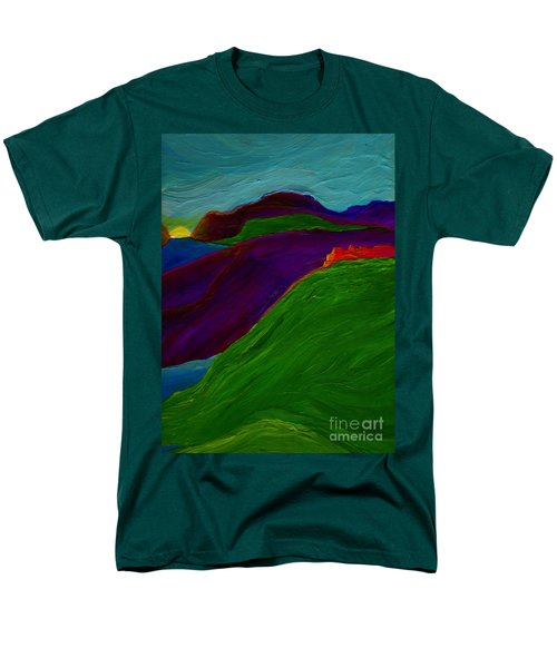 Men's T-Shirt  (Regular Fit) featuring the painting Sunrise Castle By Jrr by First Star Art