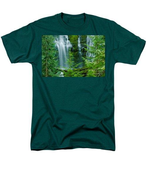 Pacific Northwest Waterfall Men's T-Shirt  (Regular Fit) by Nick  Boren