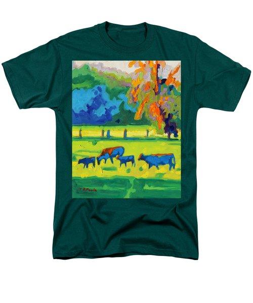 Texas Cows At Sunset Oil Painting Bertram Poole Apr14 Men's T-Shirt  (Regular Fit) by Thomas Bertram POOLE