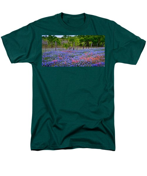 Men's T-Shirt  (Regular Fit) featuring the photograph Texas Roadside Heaven -bluebonnets Paintbrush Wildflowers Landscape by Jon Holiday