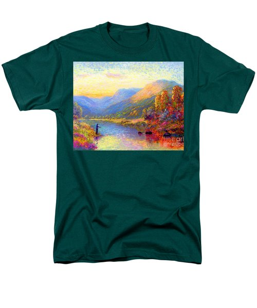 Men's T-Shirt  (Regular Fit) featuring the painting Fishing And Dreaming by Jane Small