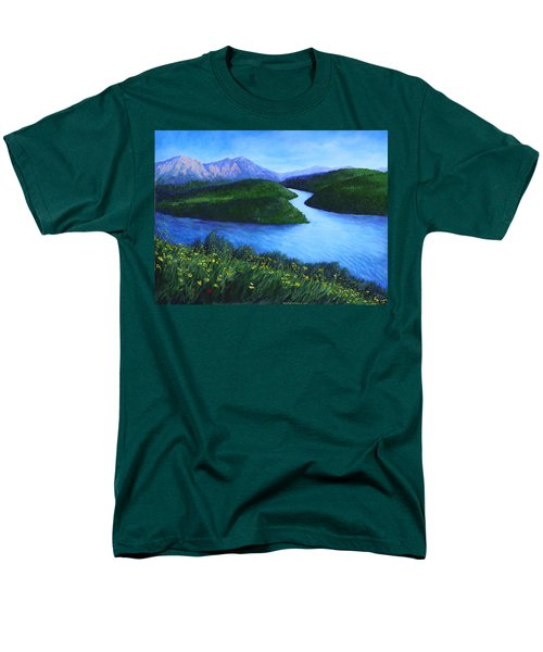 Men's T-Shirt  (Regular Fit) featuring the painting The Mountains Beyond by Penny Birch-Williams
