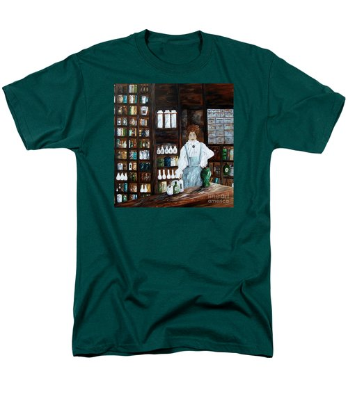Men's T-Shirt  (Regular Fit) featuring the painting The Old Pharmacy ... Medicine In The Making by Eloise Schneider