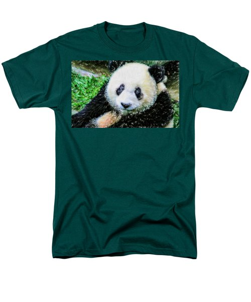 Men's T-Shirt  (Regular Fit) featuring the painting Thinking Of David Panda by Lanjee Chee