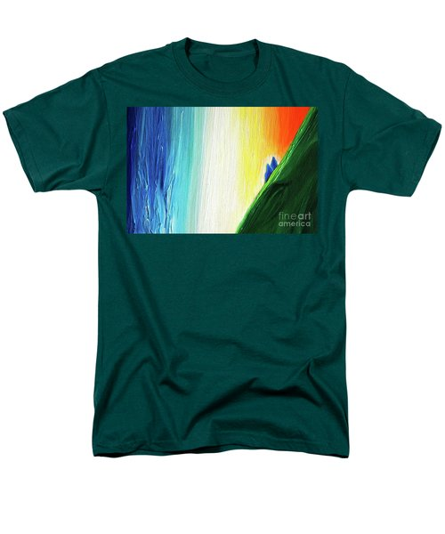 Men's T-Shirt  (Regular Fit) featuring the painting Travelers Rainbow Waterfall Detail by First Star Art