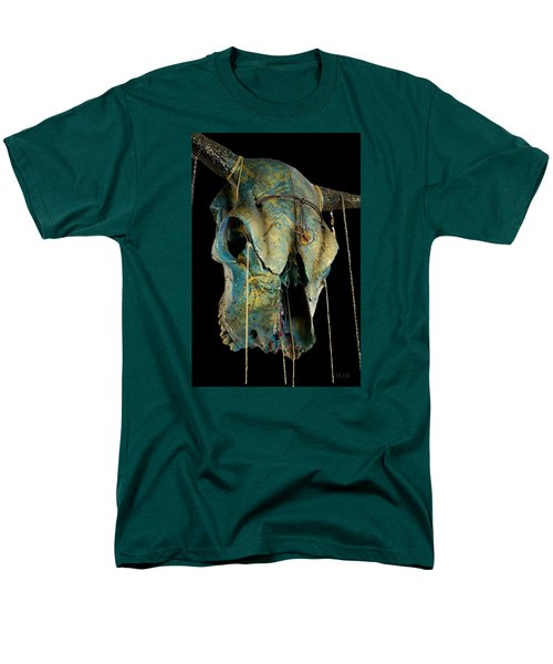 Turquoise And Gold Illuminating Steer Skull Men's T-Shirt  (Regular Fit)