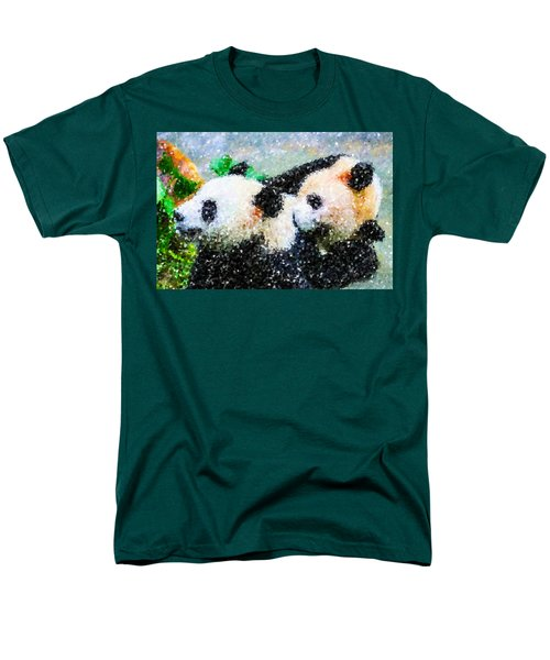 Men's T-Shirt  (Regular Fit) featuring the digital art Two Cute Panda by Lanjee Chee