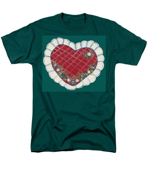 Men's T-Shirt  (Regular Fit) featuring the painting Valentine Heart by Barbara McDevitt