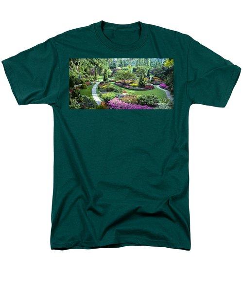 Vancouver Butchart Sunken Gardens Beautiful Flowers No People Panorama Men's T-Shirt  (Regular Fit) by David Zanzinger