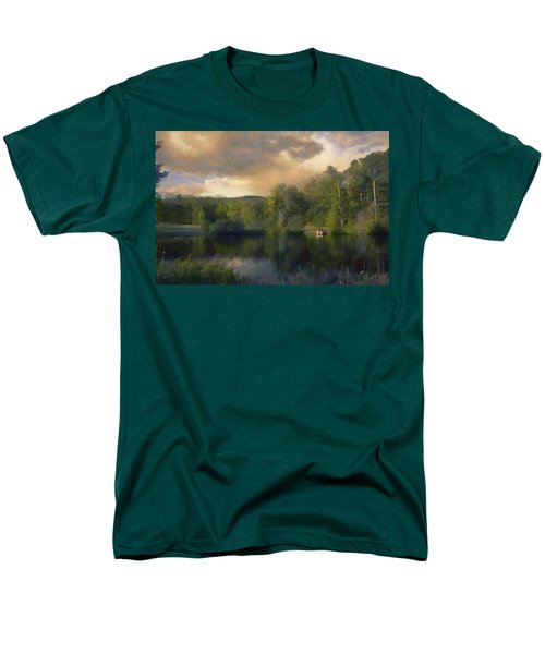 Men's T-Shirt  (Regular Fit) featuring the painting Vermont Morning Reflection by Jeff Kolker
