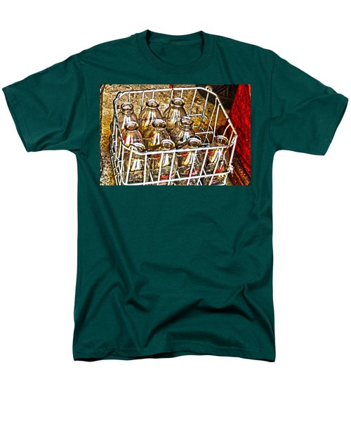 Men's T-Shirt  (Regular Fit) featuring the photograph Vintage Milk Bottles In A Crate   by Lesa Fine