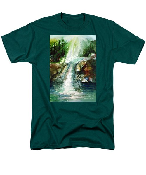 Men's T-Shirt  (Regular Fit) featuring the painting Waterfall Expression by Allison Ashton